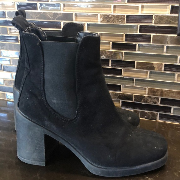 Faux Suede Heeled Boots Euro